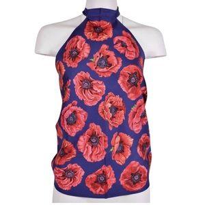 1557aba57 Gucci Floral Scarf Poppy Silk Halter Top NWT